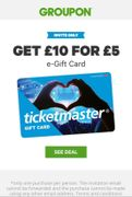 £5 for a £10 Ticketmaster Gift Card via Groupon. (Read Description)