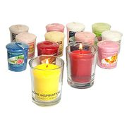 2x Yankee Candle Glass Holders & 6x Yankee Candle Votive (49g) Sampler Candles