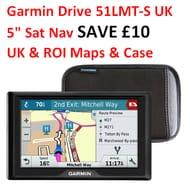 "SAVE £10. Garmin Drive 51LMT-S UK 5"" Sat Nav - UK & ROI Maps & Case"