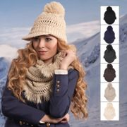 Ladies Chunky Knit Willow Hat with Peak and Pom Pom Bobble
