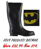 Holy Puddles! It's BATMAN WELLIES (Sizes 3, 4, 5 & 6)