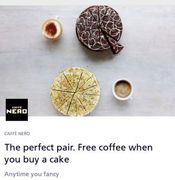 Free Coffee with the Purchase of a Cake/tray Bake at Cafe Nero with O2 Priority