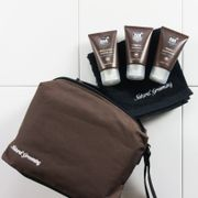 Man Cave Wash Bag Set - 3x 30ml Smellies, Luxury Face Cloth + Toiletry Bag