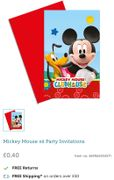 6 Mickey Mouse Party Invitations