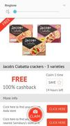 FREE Jacob's Ciabatta Crackers £1.39 at ASDA/Tesco/Sainsburys