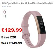Nice £20 off at Argos! Fitbit Special Edition Alta HR Small Wristband Rose Gold