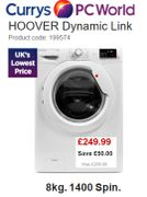 UK's Cheapest Price: HOOVER Dynamic Link Washing Machine, 8kg 1400 Spin save £50