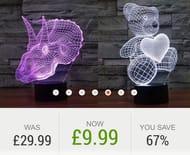 3D Colour-Changing Lamp - 4 Designs