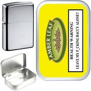 AMBER LEAF 50ml,1oz SILVER HINGED TOBACCO TIN with BRUSHED CHROME OIL LIGHTER