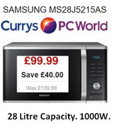 SAMSUNG MS28J5215AS Microwave £40 off at Currys, Now £99.99 (1000W, 28 Litres)