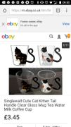 Cat Glass Coffee Mugs from Free Post