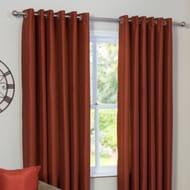 Faux Silk Eyelet Curtains - Spice / - 137 Cm / - 168 Cm