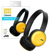 JVC Bluetooth On-Ear Headphones with Compact Folding Design, Yellow Rechargable