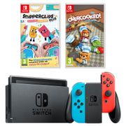 Nintendo Switch Console Neon/Grey + Snipperclips plus + Overcooked