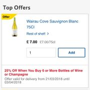 25% off When You Buy 6 or More Bottles of Wine or Champagne