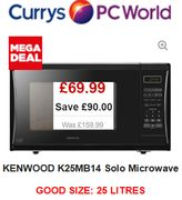 Cheap Microwave Oven Deal at Currys - save £90! KENWOOD K25MB14. NOW £69.99
