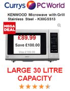 £100 off Cheap Microwave MEGA DEAL. Large 30 Litre KENWOOD K30GSS13 with Grill