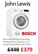 Get a Bosch 8kg 1400 Spin Washing Machine CHEAP! £70 off at John Lewis.