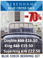 70% off ! Blue Check Bedding Set