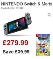 NINTENDO Switch & Mario + Rabbids Kingdom Battle Bundle save £39.99