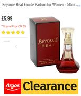 £5.99!!! ARGOS CLEARANCE - Beyonce Heat EDP for Women 50ml, **4.8 STARS**