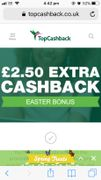 £2.50 Easter Cashback at Topcashback.com
