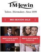 The T M Lewin SALE is NOW on - Suits from £129, Shirts from £15