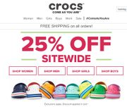 25% off Sitewide at Crocs + Free Delivery
