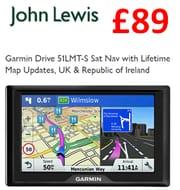 Cheap Price! Garmin Drive 51LMT-S Sat Nav + Map Updates £89 at John Lewis