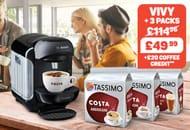 Tassimo Black VIVY 2 Machine + 3 Packs + £20 Credit