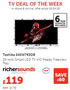 Cheap Price! Toshiba 24SW763DB 24 Inch Smart LED TV HD Ready Freeview Play