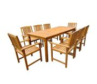 vidaXL Outdoor Dining Set 9 Pieces Solid Acacia Wood Brown