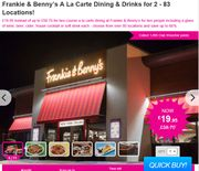 Frankie & Benny's a La Carte Dining & Drinks for 2 - 83 Locations! £19.95