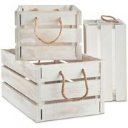VonHaus Set of 3 White Wooden Storage Crates