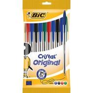 Bic Cristal Original Ballpoint Pens Assorted Colours 10pk Free C&C