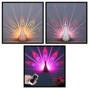 Peacock Projection Lamp with Remote Control - Choice of Colours & Free Delivery