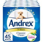 Andrex Classic Clean Toilet Roll Tissue Paper - 45 Rolls When You S+S 1st Time