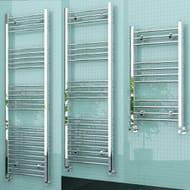 ELEGANT Designer Curved Chrome Heated Bathroom Towel Rail Radiator