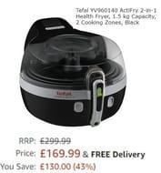 Price Drop! Tefal ActiFry YV960140 2-in-1 Health Fryer, 1.5 Kg, 2 Cooking Zones,