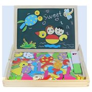 Magnetic Drawing Board Game Double Sided Blackboard Wooden Jigsaw Puzzles