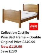 Bargain Price - Pine Bed Frame Double - save £230!