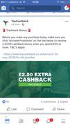 Extra £2.50 Reward from TopCashback if You Spend £25