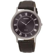 Seiko Solar Men's Navy Blue Dial Black Leather Strap Watch Free Delivery