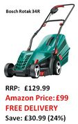 Bosch Rotak 34R Electric Rotary Lawn Mower, 34 Cm, £99 at Amazon + FREE DELIVERY