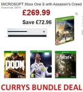 BUNDLE DEAL! Xbox One S + Assassin's Creed Origins + Doom + FIFA 18 + Fallout 4