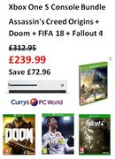 SAVE £72.96! Xbox One S + Assassin's Creed Origins + Doom + FIFA 18 + Fallout 4