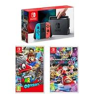 Nintendo Switch Neon with Super Mario Odyssey and Mario Kart 8 Deluxe