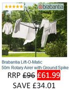 SAVE £34. Brabantia Lift-O-Matic 50m Rotary Airer with Ground Spike FREE DEL