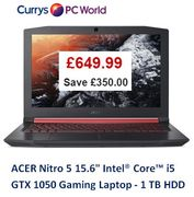 £350 off at Currys! Acer Nitro 15.6in Gaming Laptop