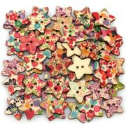 Star Shaped Painted 2 Hole Wooden Buttons 25mm X25mm (Pack of 25pcs) DELIVERED